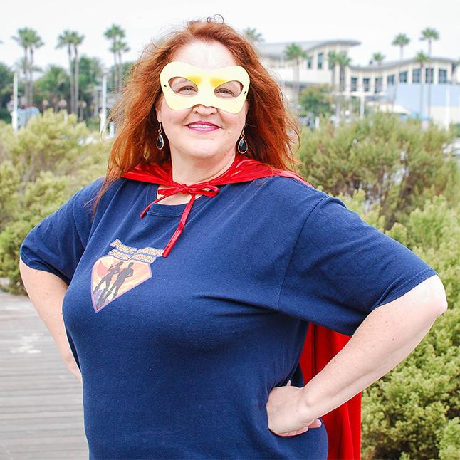Carma Spence as a public speaking superhero